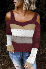 Burgundy Trim Colorblock Stripes Cold Shoulder Ihålig tröja