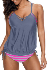 Gray Tankini with Stripes Patchwork