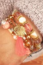 دستبند چند لایه منگوله برگ گل صورتی