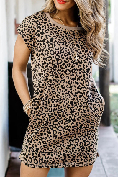Leopard Pattern T-shirt Dress with Pockets