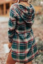 Grön Hooded Button Placket Plaid Mini Dress med hög / låg fåll