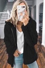 Schwarzer Reißverschluss Kapuze Faux Fleece einfarbig Jacke
