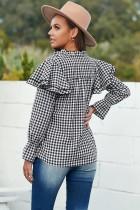 Chemise à volants boutonnée à carreaux noire