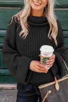 Fekete pulóveres kötött pulóver