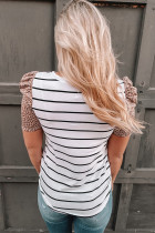 Leopard Ruffle Sleeve Striped T-shirt