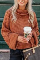 Narancssárga garbó kötött pulóver