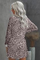 Pink Crew Neck hosszú ujjú leopárdmintás mini ruha