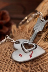 2Pcs Valentine Love Heart Heart Arrow Keychain