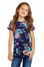 Kék virágzó virágos kislány póló