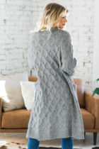 Gray Textured Cable Knit Cardigan