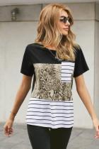 T-shirt z kieszeniami w wężowy wzór moro