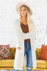 White Textured Cable Knit Cardigan