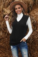 Fekete ujjatlan kábel kötött pulóvertartó