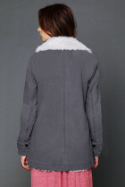Gary Lapel Collar All Denim Wool Warm Coat