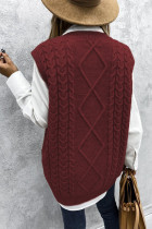 Wine Sleeveless Cable Knitted Sweater Tank