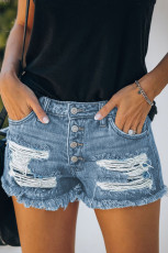 Sky Blue Gypsy Mid-Rise Distressed Denim Shorts