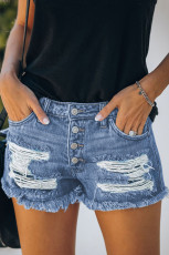 Blue Gypsy Mid-Rise Distressed Denim Shorts