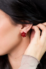 Red Christmas Delicate Stud Earrings