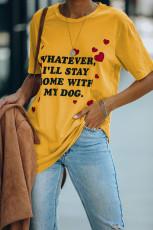 Kurzarm-lässiges T-Shirt mit gelbem Buchstabenmuster und Rundhalsausschnitt