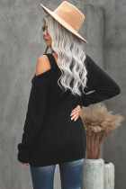 Black Strapped Cut out Shoulder Turtleneck Sweater