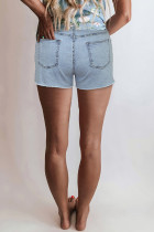 Sky Blue  High Rise Destroyed Denim Shorts