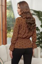 Khaki V -kaula-aukko Polka Dot Rypytetty pusero