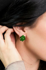 Green Christmas Delicate Stud Earrings