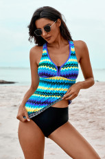 Blue Wave Stripe Racerback Tankini Swimsuit