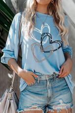 Sydänkuvio sininen pitkähihainen paita