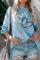 Szív nyomtatott kék pulóver hosszú ujjú felső
