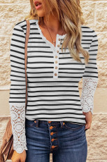 White Lace Striped Splicing Hollow-out Button Long Sleeves Top