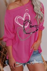 Heart Print Pullover pitkähihainen paita