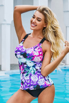 Purple Floral Printed Strappy Racerback Tankini Swim Top