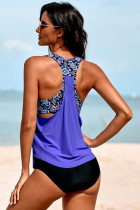 Purple Cowl Neck Splicing Tank og Panty Tankini Set