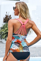 Yellow Floral Printed Strappy Racerback Tankini Swim Top