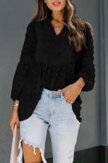 เสื้อเบลาส์แขนยาวลายจุดสีดำ Ruffled Split