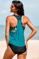 Turquoise Cowl Neck Splicing Tank and Panty Tankini Set