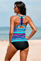 Sky Blue Striped Tie-dye Racerback Tankini Swimsuit