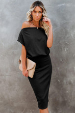 Black Boat Neck Knit Midi Dress