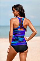 ชุดว่ายน้ำมัดย้อม Racerback Tankini สีม่วง