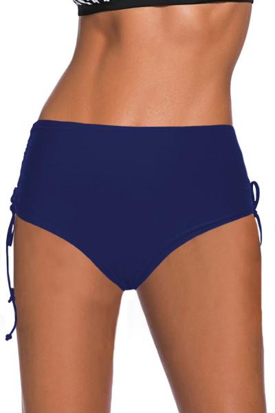 กางเกงว่ายน้ำเอวสูงสายรัดสีน้ำเงิน Ruched ด้านข้าง