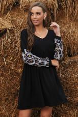 Leopard Splicing Ruffled V-neck Mini Dress Lengan Panjang