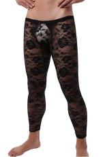 กางเกงเลกกิ้งผู้ชายสีดำ Sheer Floral Lace Mesh Low Rise