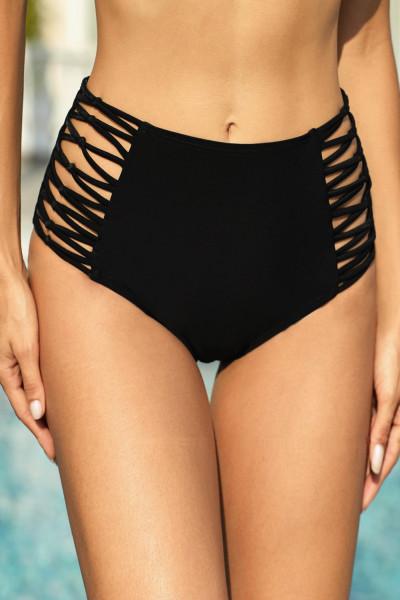 กางเกงว่ายน้ำเอวสูงแบบกลวงออกสีดำ