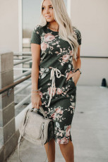 Dark Gray Short Sleeve Pocketed Drawstring Casual Floral Dress