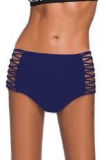 กางเกงว่ายน้ำเอวสูงแบบกลวงออกสีน้ำเงิน