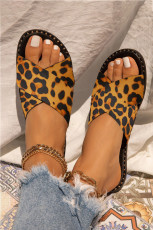 Leopardtryck Rhinestone Edge Crossed Tofflor