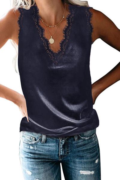 Kék ruhás szempilla csipke V nyakú felső