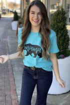 ライトブルーのママベアプリント半袖Tシャツ