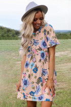 Pink Ruffled Short Sleeve Floral Dress